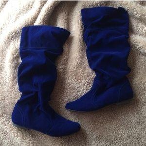 Shoe Dazzle Bellona Blue Velvet Slouch Boots Sz 7